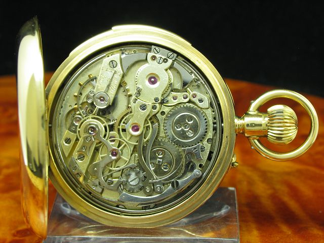18kt 750 GOLD OPEN FACE TASCHENUHR CHRONOGRAPH MINUTEN REPETITION MINUTE REPEATER