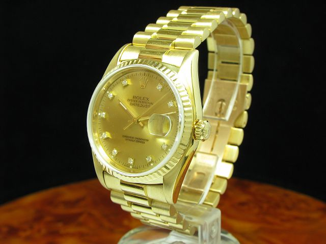 ROLEX DATEJUST 18kt 750 GOLD AUTOMATIC HERRENUHR DIAMANT ZIFFERBLATT REF 16238