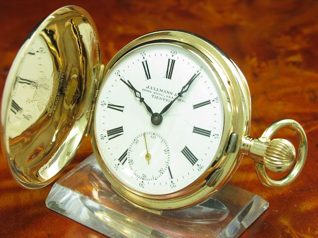 J.ULLMANN & CO. 14kt 585 GOLD SAVONETTE SPRUNGDECKEL TASCHENUHR MINUTEN REPETITION