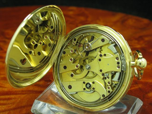 Humbert-Ramuz & Cie 18kt 750 Gold Open Face Taschenuhr Viertel-Repetition