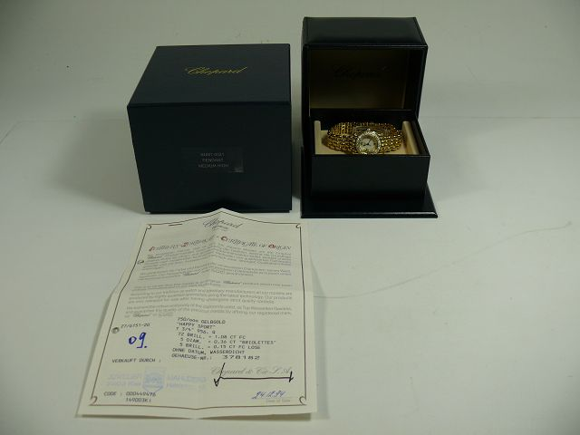 Chopard Happy Sport 18kt 750 Gold Damenuhr Brillant Besatz / Ref 27/6151-20