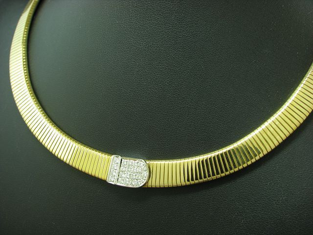 18kt 750 GOLD BICOLOR COLLIER MIT 0,69ct BRILLANT BESATZ / DIAMANT / HALSKETTE / 42,0 cm
