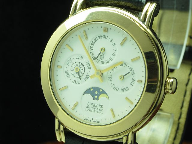 CONCORD 18kt 750 GOLD AUTOMATIC VOLLKALENDER MONDPHASE INKL. BOX & PAPIERE