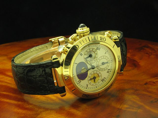 CARTIER PASHA 18kt 750 GOLD 3 ZEITEN AUTOMATIC HERRENUHR