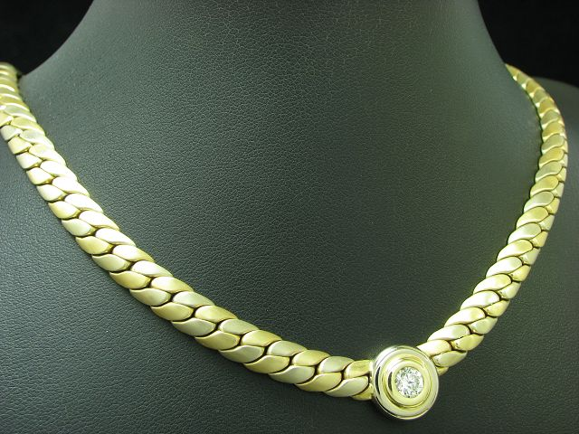 14kt 585 GOLD COLLIER MIT 0,56ct BRILLANT SOLITÄR BESATZ / GOLDCOLLIER