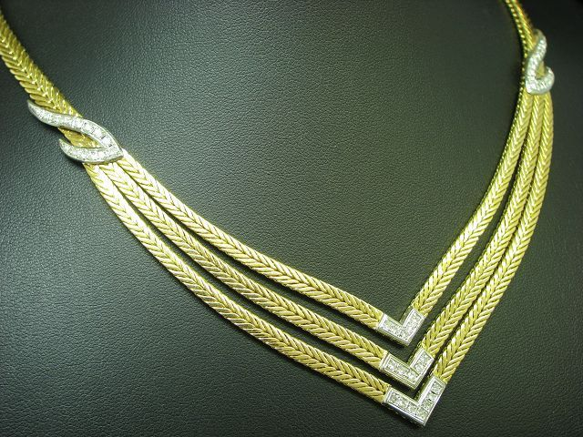 18kt 750 GOLD COLLIER MIT 0,73ct BRILLANT BESATZ / BRILLANTCOLLIER DIAMANTCOLLIER